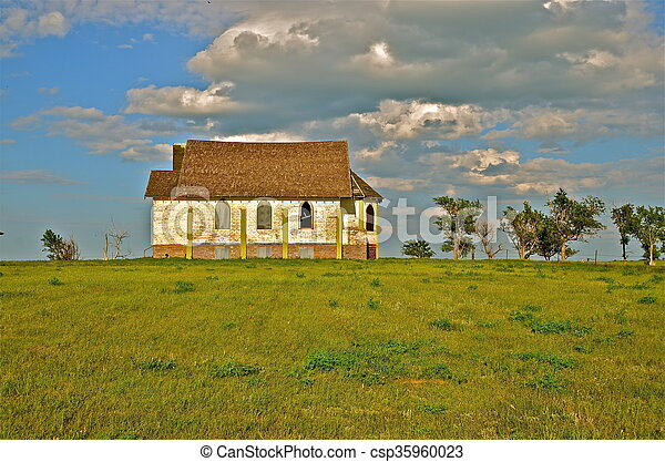 Old country church on hilltop - csp35960023