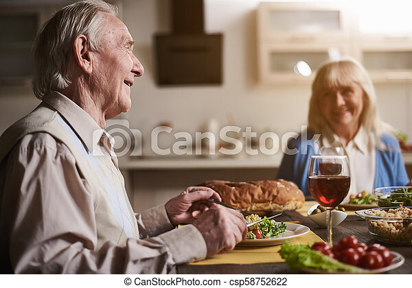 Miraculous Old Couple Admiring Each Other At Dinner Table Download Free Architecture Designs Scobabritishbridgeorg