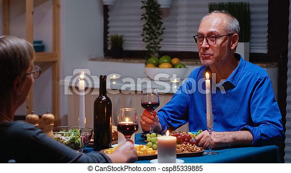 Old couple celebrating marrige - csp85339885