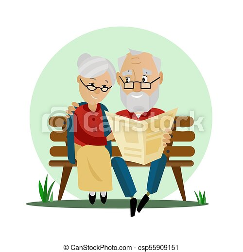 old couple sitting on a bench in the park old couple loving rh canstockphoto com old couple cartoon clipart old couple clipart free