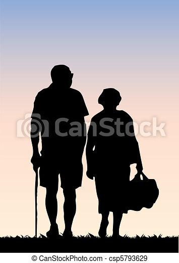Old couple walking - csp5793629