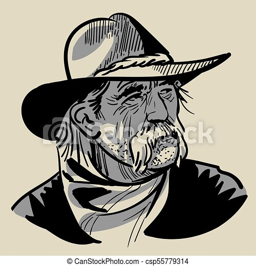 2d6e08fd1a2 Old cowboy with a hat. portrait. digital sketch hand drawing vector.  illustration.