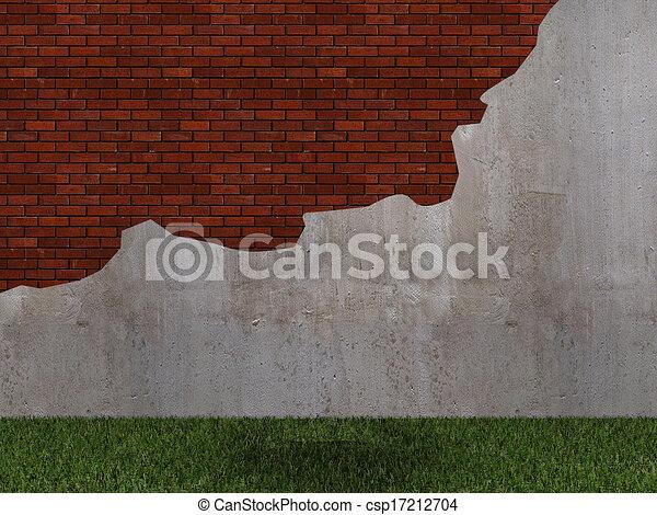old cracked brick wall  - csp17212704