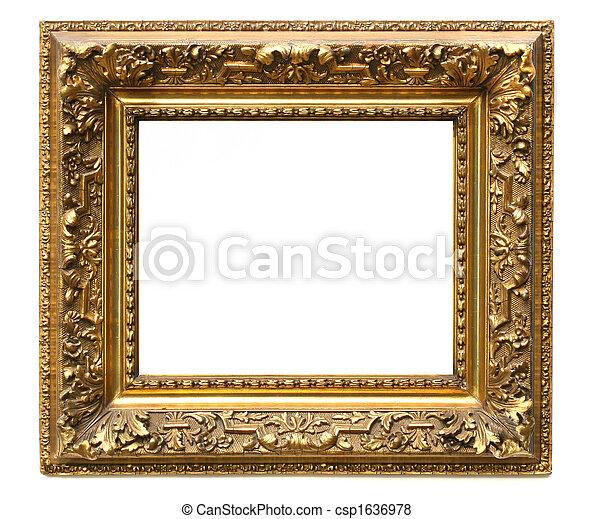 Old cracked gilded frame on white - csp1636978