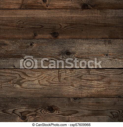 Old dark floorboard wood background square format - csp57609966