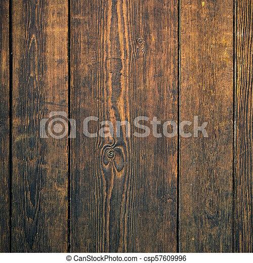 Old dark mahogany wood wall background square format - csp57609996