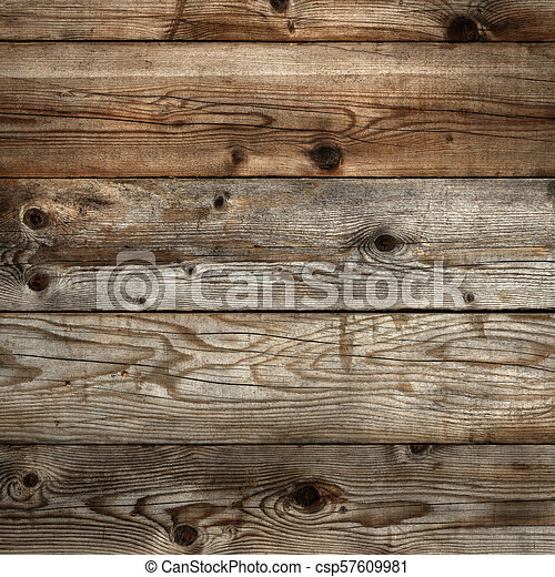 Old dark stained wood background square format - csp57609981