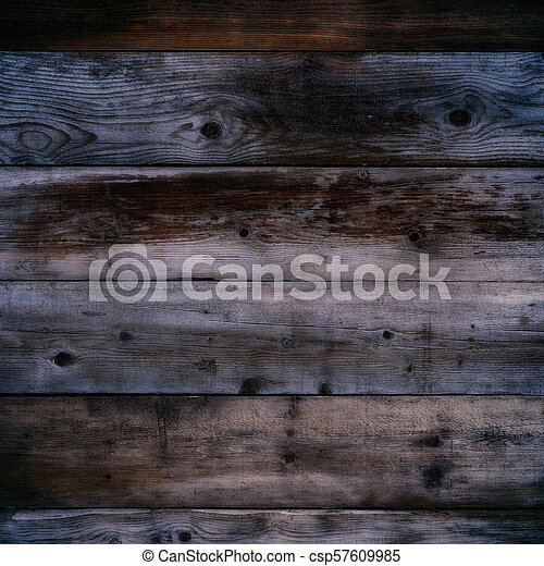 Old dark wood wall night background square format - csp57609985
