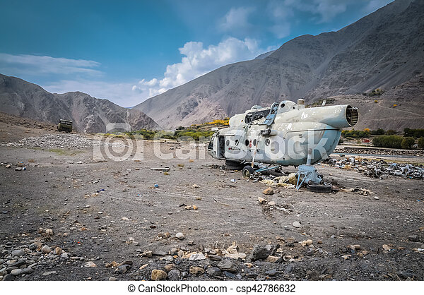 Old destroyed helicopter - csp42786632