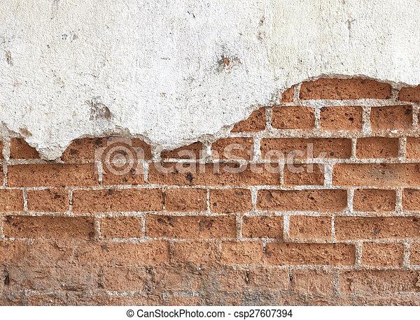 Old dirty black brick wall - csp27607394