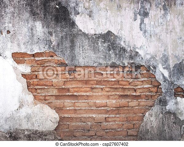 Old dirty black brick wall - csp27607402