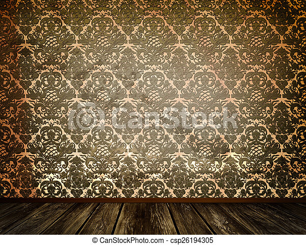 Old Dirty Wallpaper And Wooden Floor Background