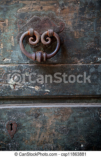 Old Door Knocker With Keyhole   Csp11863881