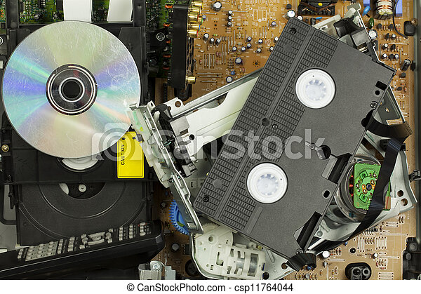 Old DVD player and VHS player - csp11764044