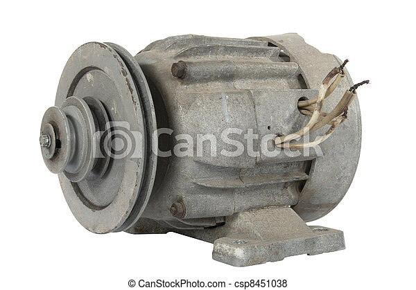 Old electric motor with a pulley (isolated) - csp8451038