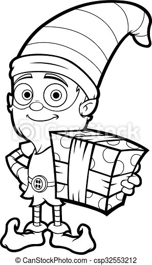 old elf character in black white a black and white vector clip rh canstockphoto com