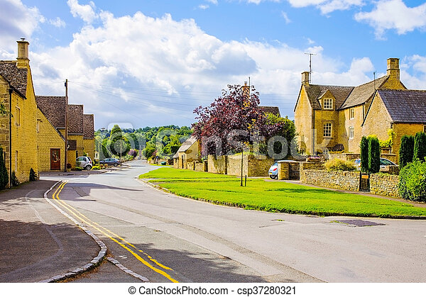 Old English village in Cotswolds area - csp37280321
