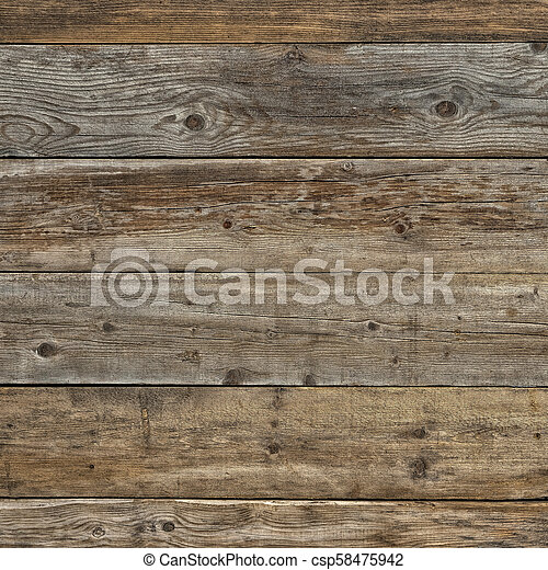 Old faded dull pine natural dark wooden background square - csp58475942