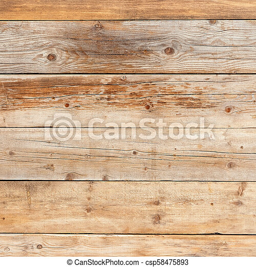 Old faded yellow pine natural wood square background texture - csp58475893