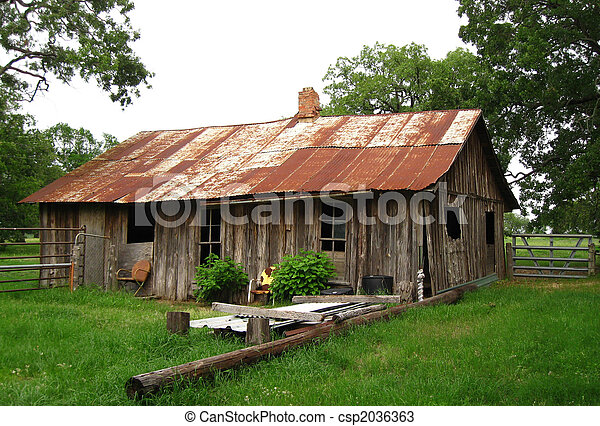 Old Farm House With Red Tin Roof