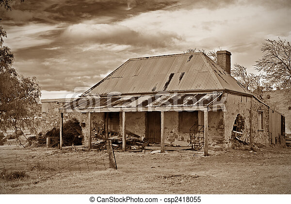 Great Image Of Old Farmhouse Ruins In Sepia Stock Images