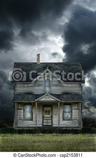 Old Farmhouse Stormy Sky - csp2153811