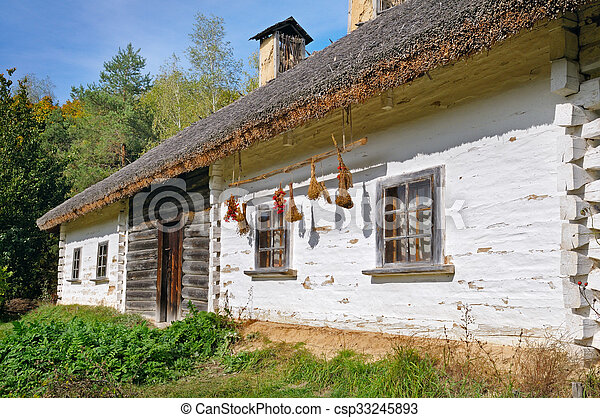 old farmhouse with a thatched roof - csp33245893