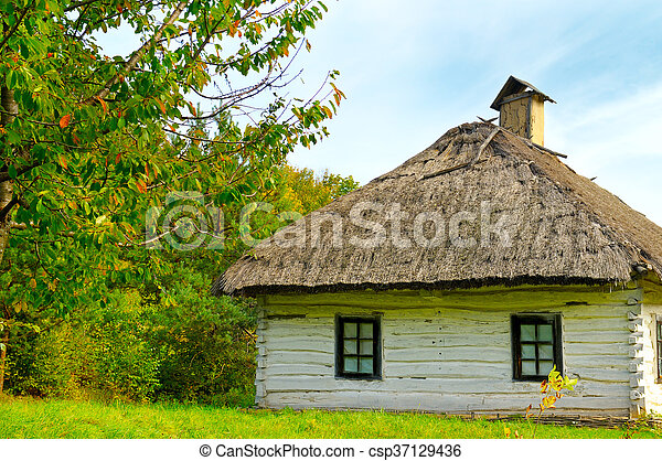 old farmhouse with a thatched roof - csp37129436