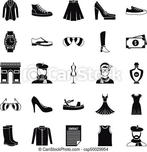 Old fashion icons set, cartoon style