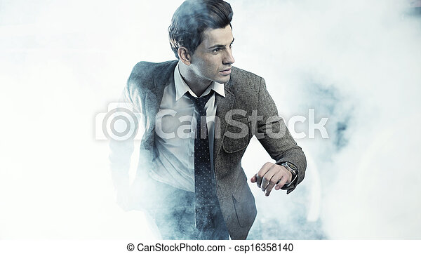 Old fashion style photo of handsome man - csp16358140