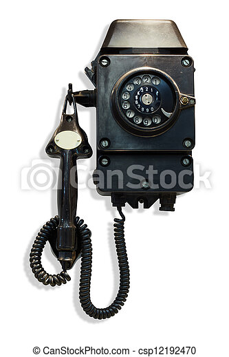 Old-fashioned black wall-mounted telephone with rotary dial - csp12192470