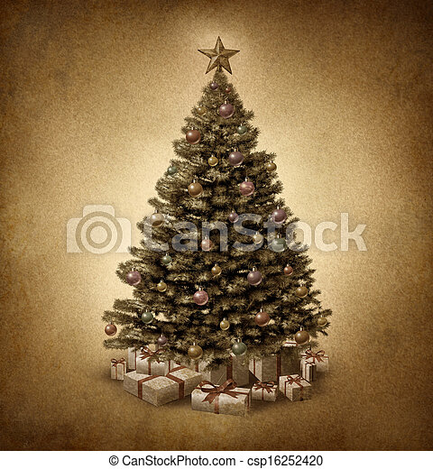 Old Fashioned Christmas Tree - csp16252420