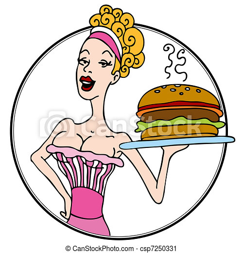 old fashioned diner waitress serving hamburger an image of rh canstockphoto com dinner clip art border dinner clip art pictures