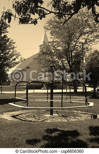 Old Fashioned Wooden Merry Go Round