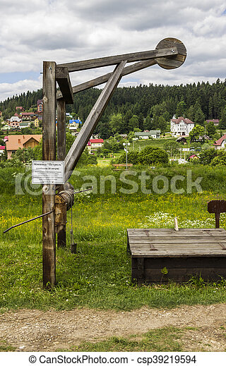 old-fashioned oil pump - csp39219594