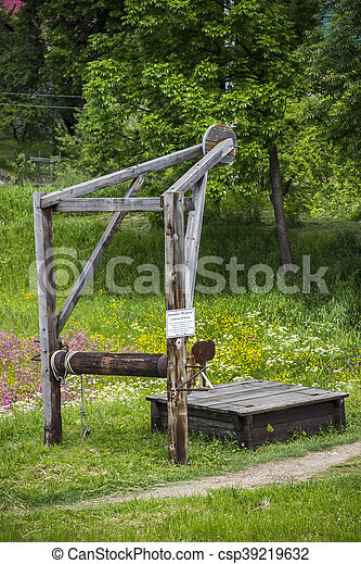 old-fashioned oil pump - csp39219632
