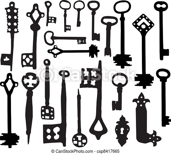 vector silhoutte of old fashioned skeleton keys clipart vector rh canstockphoto com Ancient Key skeleton key vector free download