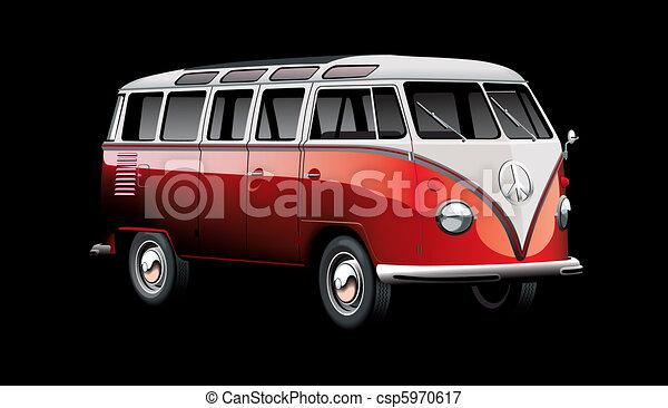old-fashioned van on black - csp5970617