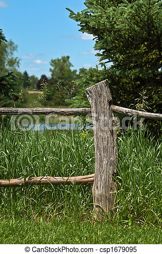 fence post. Old Fence Post - Csp1679095