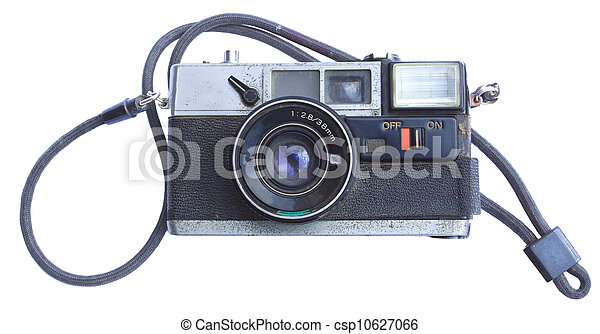 old film camera isolated on white - csp10627066