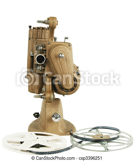 Old film projector isolated on white  - csp3396251