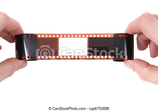 Old film with empty frame in the hands - csp6753688
