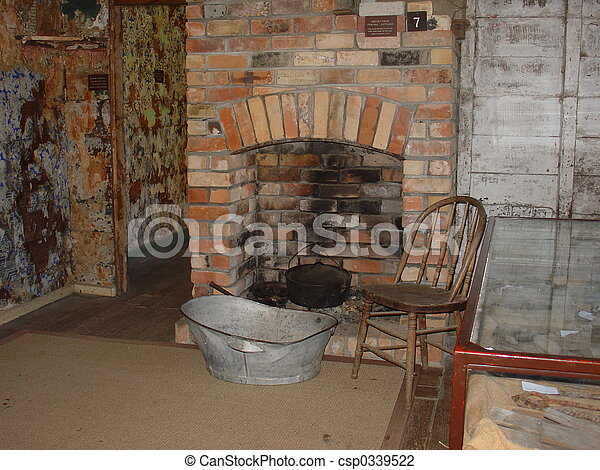 Old Fireplace An Old Brick Fireplace With A Steel Washing Tub In