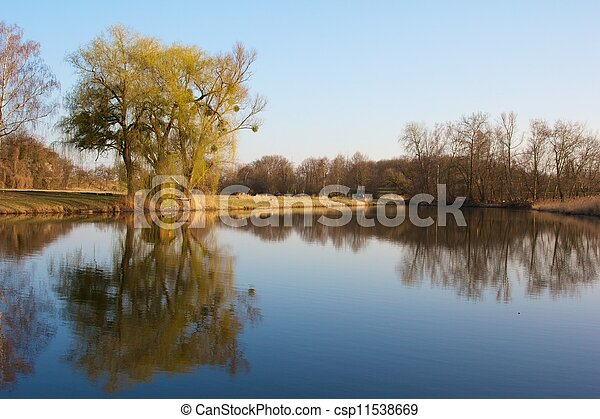 Old fishing hut with a wooden dock in the famous Rheinauen nature reserve at the River Rhine, Karlsruhe, Germany - csp11538669