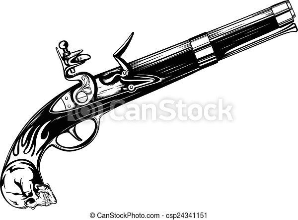 abstract vector illustration old flintlock pistol. Black Bedroom Furniture Sets. Home Design Ideas