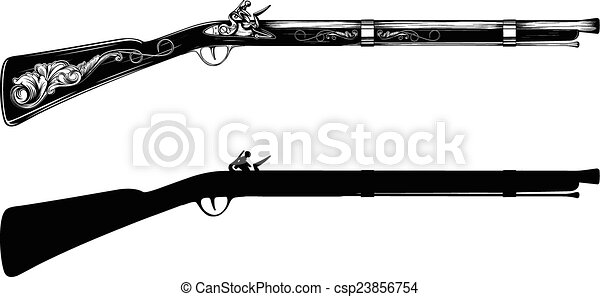 old flintlock rifle - csp23856754