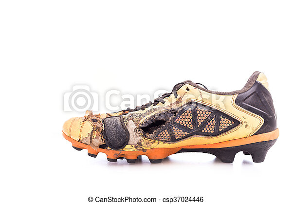 0a8370f1993 Old football shoes isolated on white background stock photo - Search ...