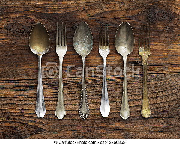 Old forks and spoons - csp12766362