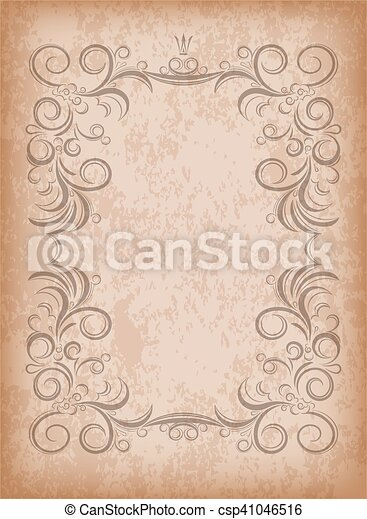 Old frame on aged paper with dark edges and a blank space vector old frame on aged paper with dark edges and a blank space for text retro stopboris Choice Image