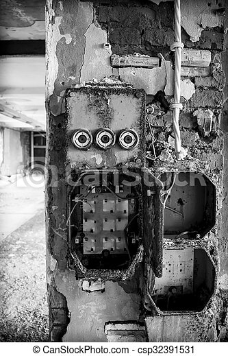 an old fuse box in a derelict factory rh canstockphoto com